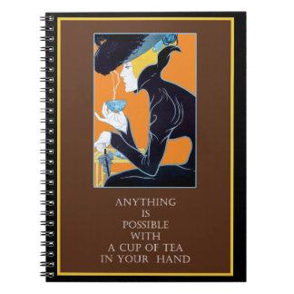 Vintages Kunst Nouveau Tee-Zitat-Notizbuch Spiral Notizbücher