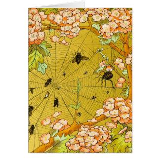 Vintages Kunst-Spinnennetz in blühendem Baum Karte