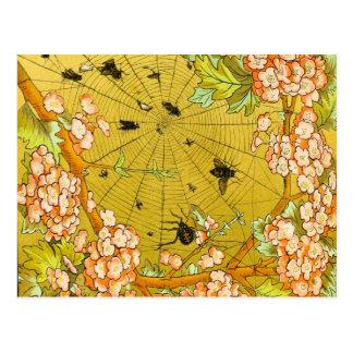 Vintages Kunst-Spinnennetz in blühendem Baum Postkarte