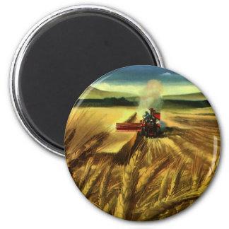 Vintages landwirtschaftliches Bauernhof-Geschäft, Runder Magnet 5,7 Cm
