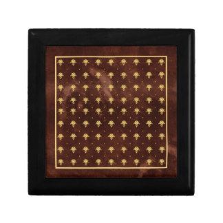 Vintages ledernes Brown- und Golddamast-Muster Kleine Quadratische Schatulle