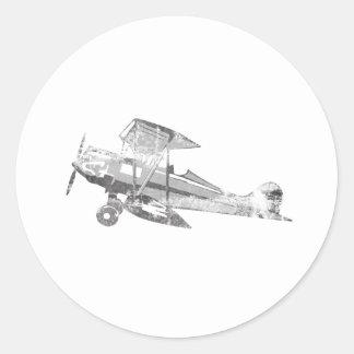 Vintages Luft-Flugzeug Runder Sticker