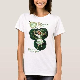 Vintages Mädchen-Kleeblatt-Girlanden-St Patrick T-Shirt