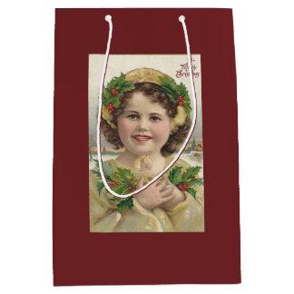 Vintages Mädchen mit Stechpalme Mittlere Geschenktüte