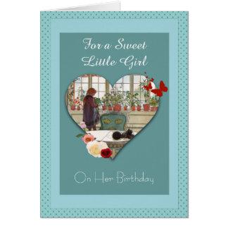 Vintages Mädchen-wässernBlumen-Geburtstags-Karte Grußkarte