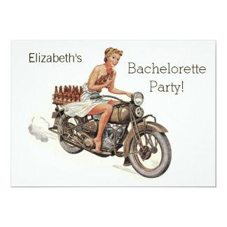 Vintages Motorrad-Mädchen und Bier Bachelorette 12,7 X 17,8 Cm Einladungskarte
