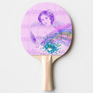 Vintages MusikPing Pong Paddel Fan-Damen-Blatt Tischtennis Schläger