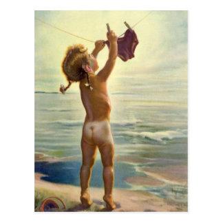 Vintages niedliches Kinderhängende Wäscherei am Postkarte