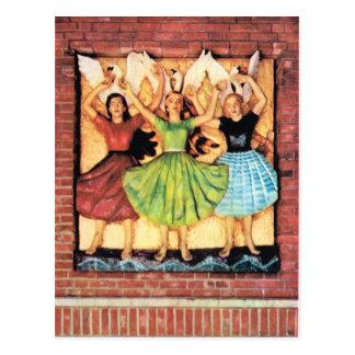Vintages Norwegen, hölzernes Wandgemälde, Postkarte