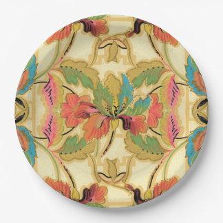 Vintages orange Türkis-Blumentapeten-Muster Pappteller