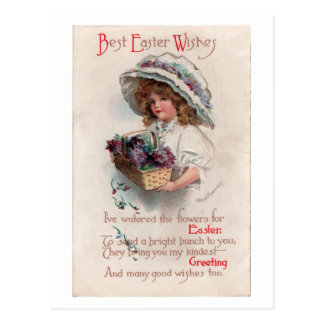 Vintages Ostern-Mädchen in der Mützen-Postkarte Postkarten