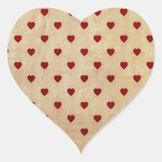 Vintages Papierpolka-Herz-Muster Herz Aufkleber