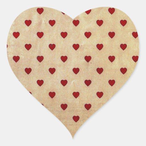 Vintages Papierpolka-Herz-Muster Aufkleber