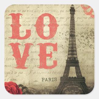 Vintages Paris Quadratischer Aufkleber