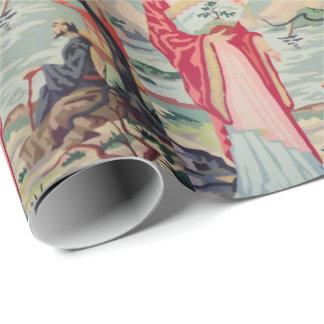 Vintages PBN asiatisches Frauen-Verpackungspapier Geschenkpapier