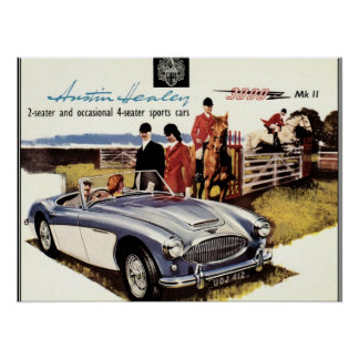 VINTAGES PLAKAT - AUSTIN HEALEY 3000