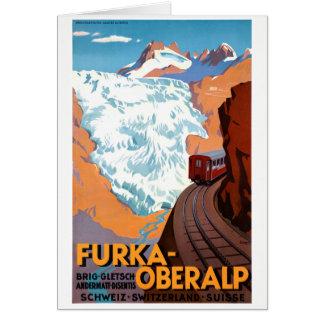 Vintages Plakat der Schweiz Furka Oberalp wieder Grußkarte