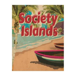 Vintages Plakat Ferien der Gesellschafts-Inseln Holzdruck
