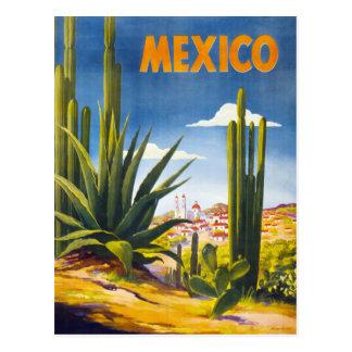 Vintages Plakat Mexikos wieder hergestellt Postkarte