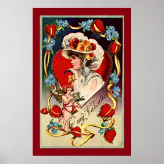 Vintages Plakat-Papier Damen-My Valentine Value