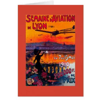 Vintages Plakat Semaine d Luftfahrt-Des Lyon Grußkarte