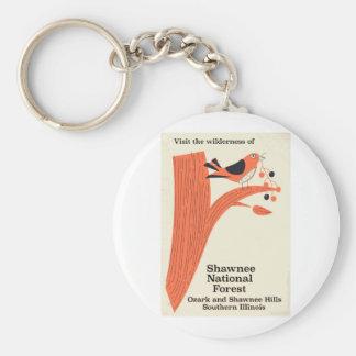 Vintages Plakat Shawnee-nationaler Waldillinois Schlüsselanhänger