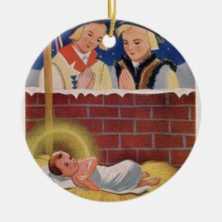 Vintages polnisches Wesołyeh Świąt WeihnachtsRetro Keramik Ornament