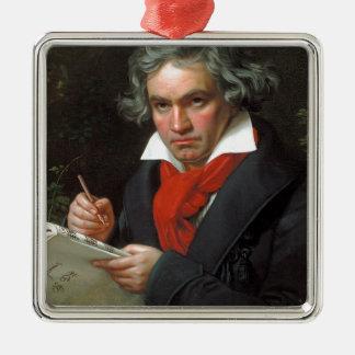 Vintages Porträt des Komponisten, Ludwig von Quadratisches Silberfarbenes Ornament