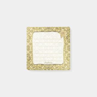 Vintages prägeartiges goldenes Blumenmuster Post-it Klebezettel