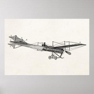 Vintages Propeller-Flugzeug-Retro altes Poster
