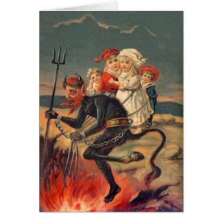 Vintages Redheaded Krampus Grußkarte