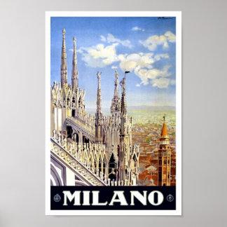 Vintages Reise-Plakat 1920 Mailands Poster