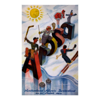 Vintages Reise-Plakat Arosas die Schweiz Poster