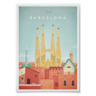 Vintages Reise-Plakat Barcelonas Poster