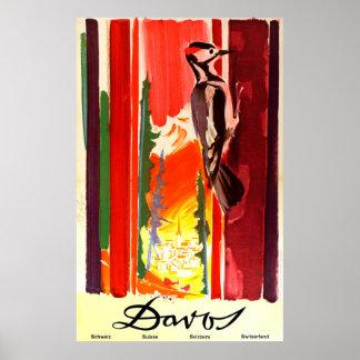 Vintages Reise-Plakat Davos die Schweiz Poster