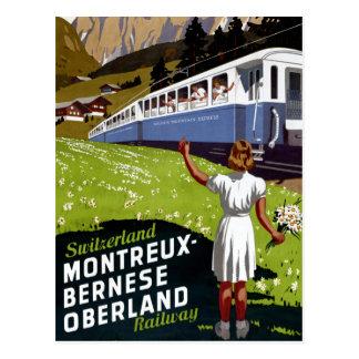 Vintages Reise-Plakat der Schweiz wieder Postkarte
