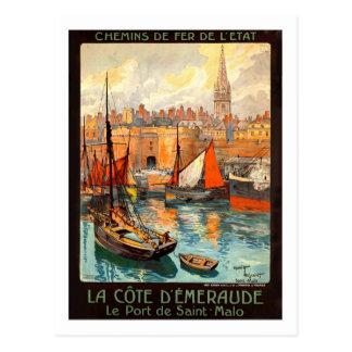 Vintages Reise-Plakat, Heiliges Malo Postkarten