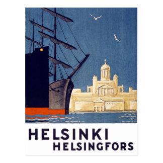 Vintages Reise-Plakat Helsinkis wieder hergestellt Postkarte