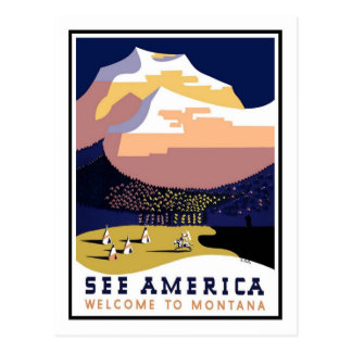 Vintages Reise-Plakat, Montana Postkarte