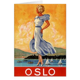 Vintages Reise-Plakat Oslos Norwegen wieder Karte