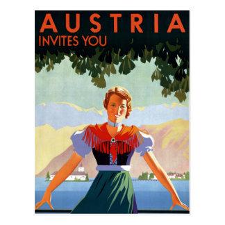 Vintages Reise-Plakat Österreichs Postkarte