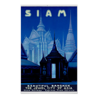 Vintages Reise-Plakat Siams Thailand wieder Poster