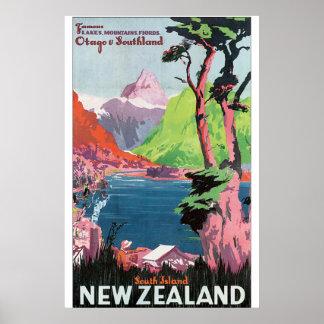 Vintages Reise-Plakat Südinsel-Neuseelands Poster
