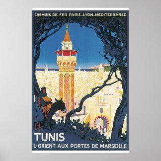 Vintages Reise-Plakat Tunis Poster
