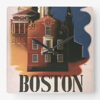 Vintages Reise-Plakat von Boston, Massachusetts Quadratische Wanduhr
