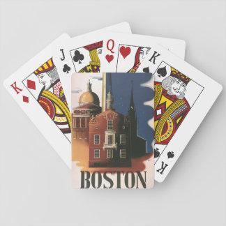 Vintages Reise-Plakat von Boston, Massachusetts Spielkarten