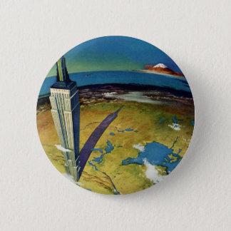 Vintages Reise-Reich-Staats-Gebäude New York City Runder Button 5,1 Cm