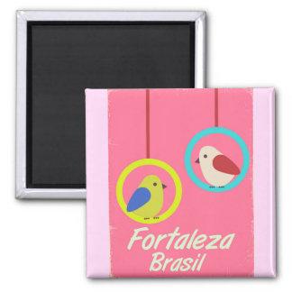 Vintages Reiseplakat Fortalezas Brasilien Quadratischer Magnet