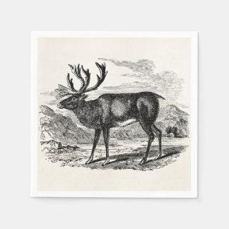 Vintages Ren-personalisierte Rotwild-Illustration Serviette