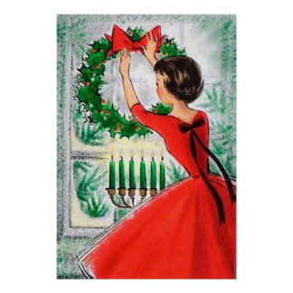Vintages retro Damen- und Wreathdekorplakat Poster